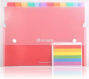 HJSMing 13 Pockets Portable File Folders/Rainbow Folder Organizer/Expandable Plastic Folders/A4 Letter Size File Organizer with Buttons-for School Office Supplies