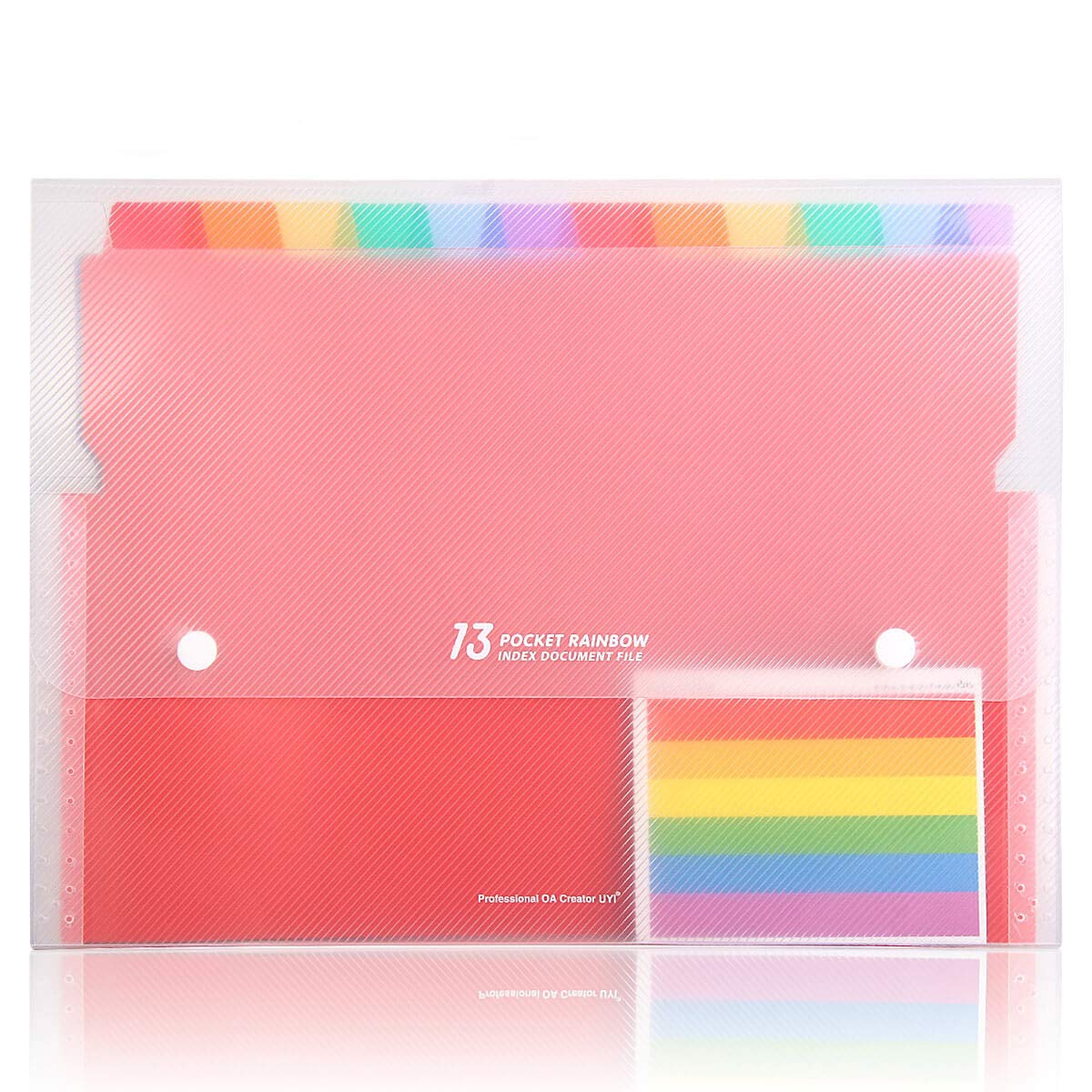 HJSMing 11 13 Pockets Portable Rainbow Expandable Plastic Folders/A4 Letter Size File Organizer with Buttons-for School Office Supplies