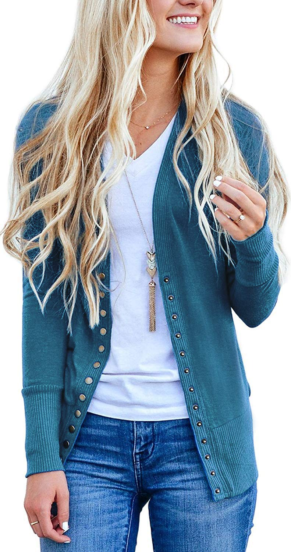Basic Faith Women's S-3XL V-Neck Button Down Knitwear Long Sleeve Soft Knit Casual Cardigan Sweater Blue S