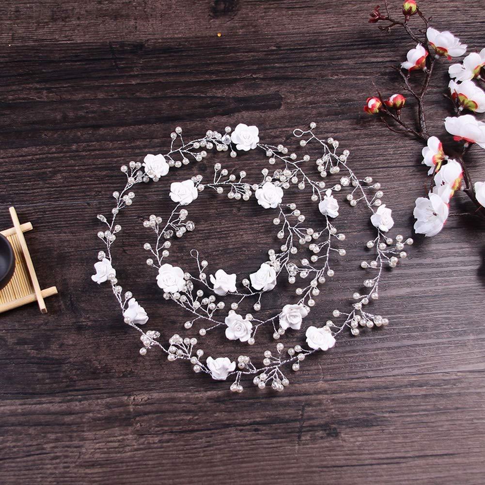 Ogquaton Diad/ème de mari/ée Classique Fait Main Fleur en c/éramique Bandeau Accessoires de Photographie de Mariage