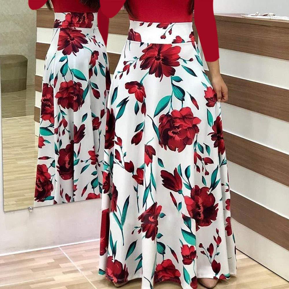 Snowfoller Fashion Women Long Sleeve Boho Dress Casual O-Neck Floral//Polka Dot Print Long Maxi Dress Evening Party Swing Dress