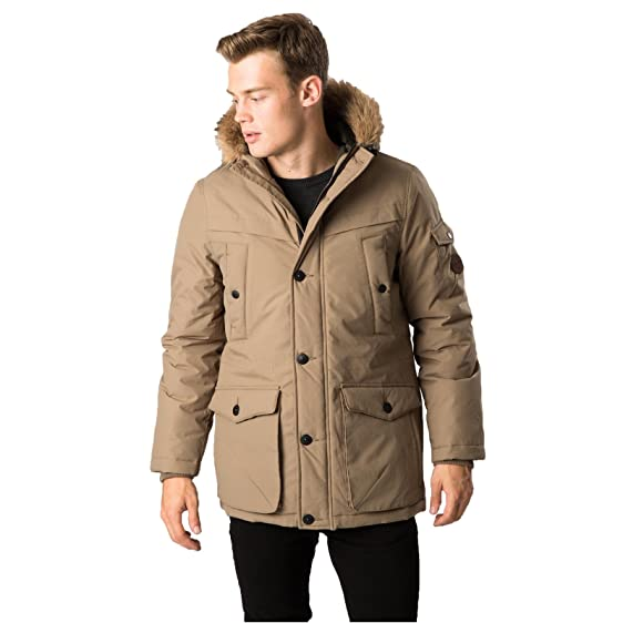Threadbare DMT069 Derwent Mens Parka Jacket - Stone - Size X Large ...