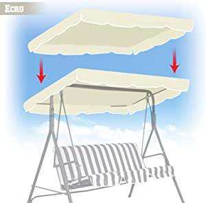 "BenefitUSA Patio Outdoor 77""x43"" Swing Canopy Replacement Porch Top Cover Seat Furniture (Ecru)"