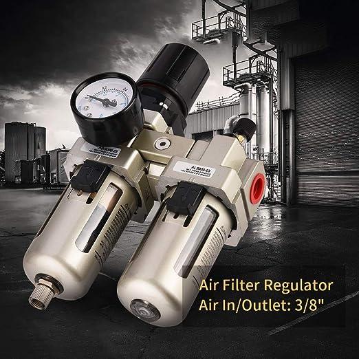 Gaeshow 1pc Ac3010 03 Druckluftregler Aus Aluminiumlegierung Feuchtigkeitsfalle Wasserfilter 3 8 Öl Wasser Abscheider Kompressor Küche Haushalt