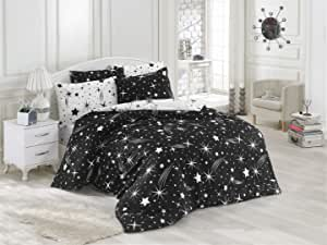 EnLora Home Super King Quilt Cover Set, Black/White, Double - 260 x 220 cm, 162ELR58428, 3 Pieces