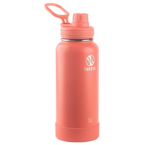 Takeya 51176 Actives Insulated Stainless Steel Bottle w/Spout Lid, 32 oz,  Coral