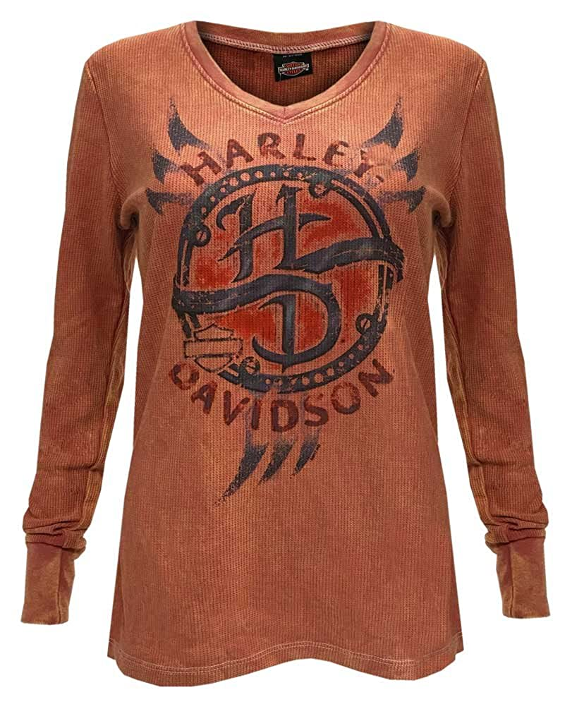 705a59ca Harley-Davidson Women\'s Chrome Vengeance Long Sleeve Thermal Tee - Terra  Cotta Mineral Wash, 5N0S-HF6H. Features adorable H-D distressed screen  printed ...