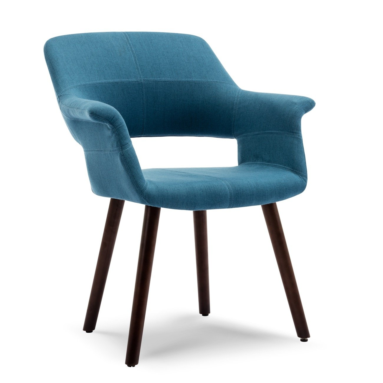 Belleze Accent Chair Living Room Armchair Linen Mid-Century Style Armrest Curved w/Wooden Leg, Blue