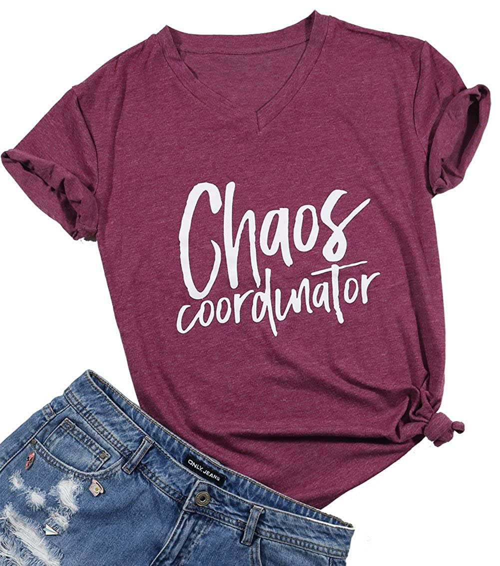 Wine Red LUKYCILD Women Chaos Coordinator Tshir Cute Funny Letter Print V Neck Shirt Top