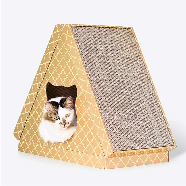 ペット猫家具四季三角形デザイン猫家猫スクラッチボード猫爪おもちゃ猫ラウンジ47.5×30×47.5センチマルチデザインオプション (設計 : A)  A