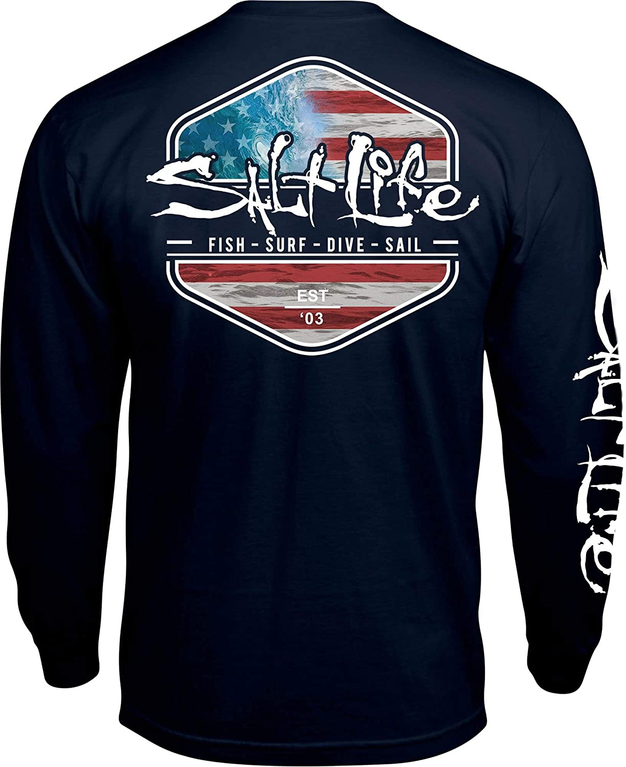 504c013e Amazon.com: Salt Life Men's Ameriseas Long Sleeve T-Shirt (S, Navy):  Clothing