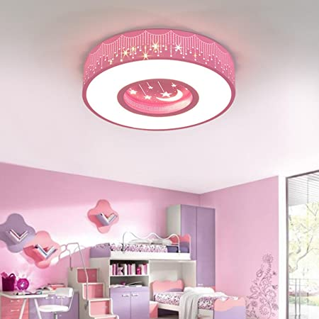 Maniny Children Room Ceiling Lamp Led Round Sparkling Star Lights Boy Room Lamp Girl Bedroom Lamps Modern Minimalist Ceiling Lights Pink 48 Diameter