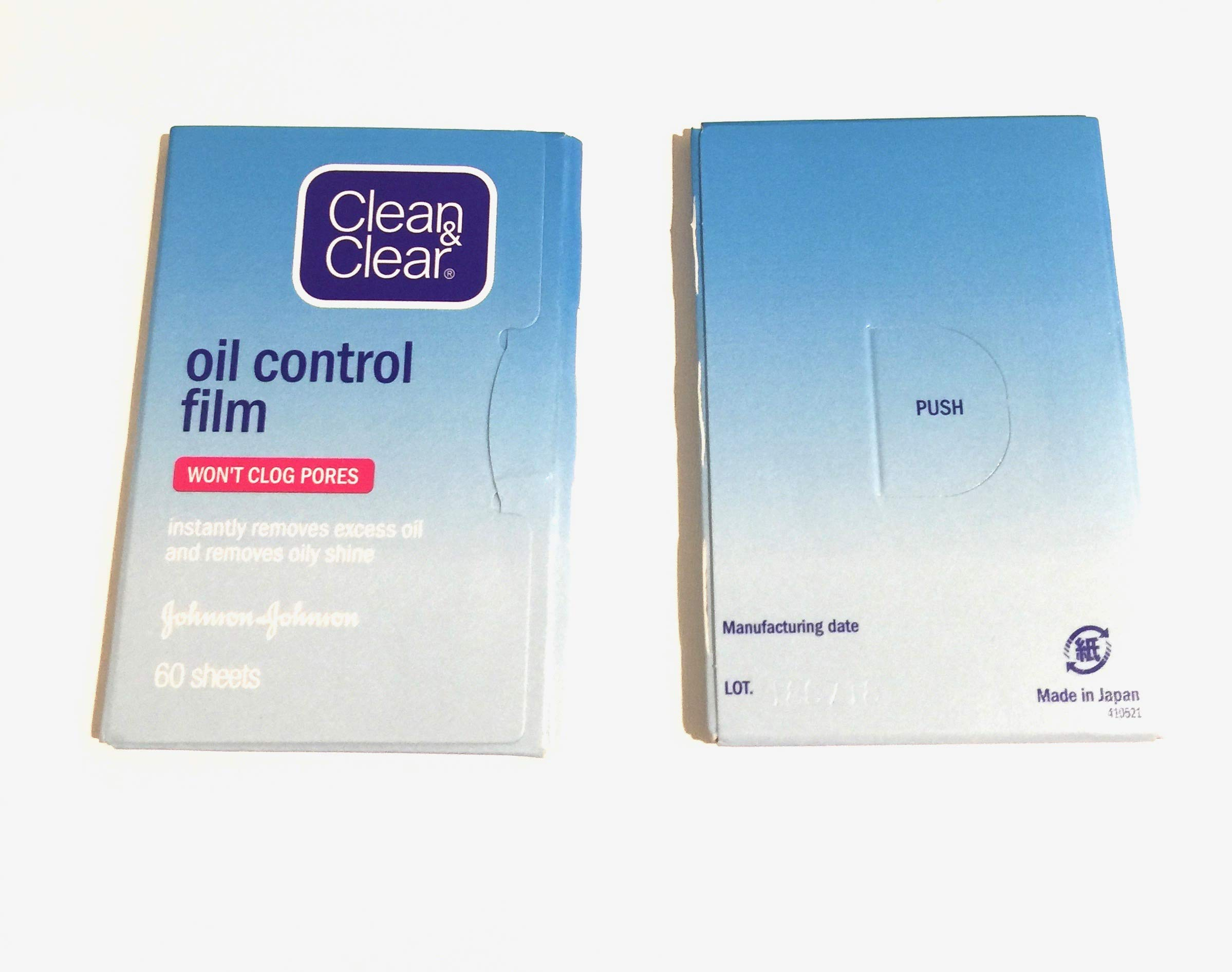 Clean & Clear Oil Control Film Blotting Paper, Oil-absorbing Sheets for Face, 60 Sheets (Pack of 2) by Clean & Clear