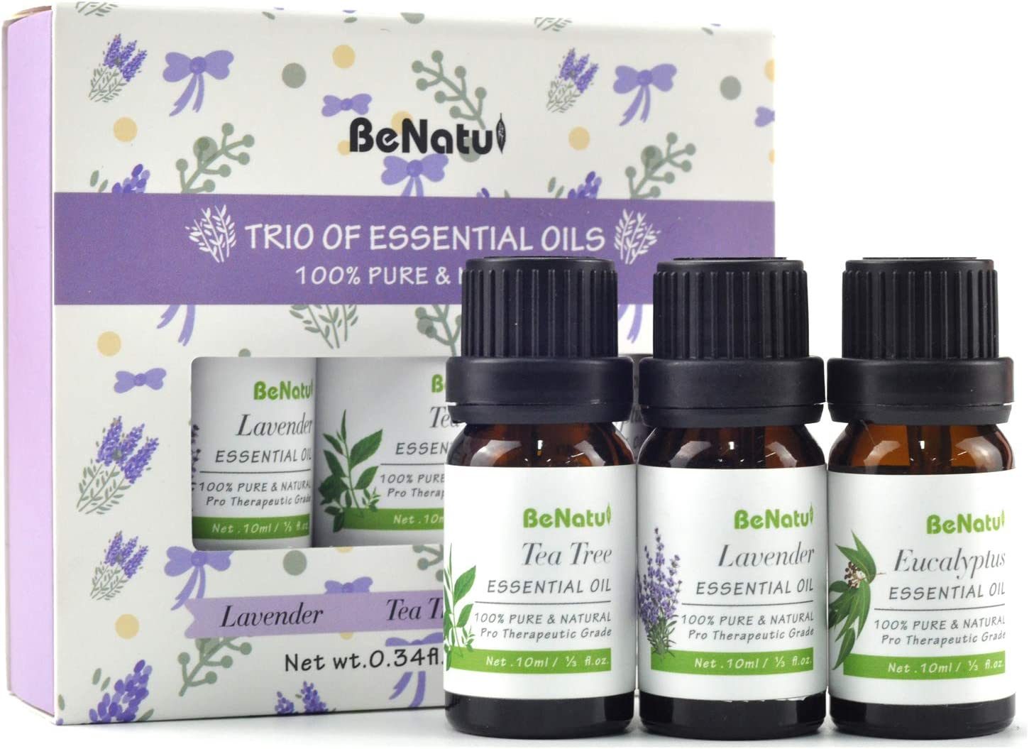 Essential Oils Set (Tea Tree, Lavender, Eucalyptus) for Skin Care, Aromatherapy, Soap Making - Organic & Pure Therapeutic Grade Diffuser Oil for Home, Stress & Anxiety Relief, Anti Acne - by Benatu: Health & Personal Care