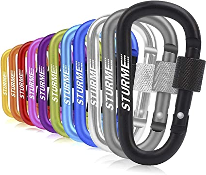 """Black STURME Carabiner Clip 3/"""" Aluminum D-Ring Locking Durable Strong and Light Large Carabiners Clip Set for Outdoor Camping Screw Gate Lock Hooks Spring Link Improved Design Pack"""