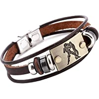 Young & Forever Zodiac Sign Constellation Handmade Brown Leather Bracelet For Men /Boys
