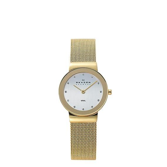Skagen Slimline 358SGGD - Reloj de mujer de cuarzo, correa de acero inoxidable, Blanco (Blanco/Dorado)