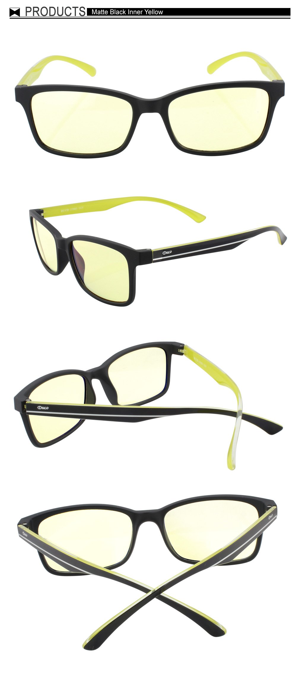 DUCO New Design Video Computer Gaming Glasses with Amber Tint Lens TR90 Yellow Arms 224 by DUCO (Image #3)