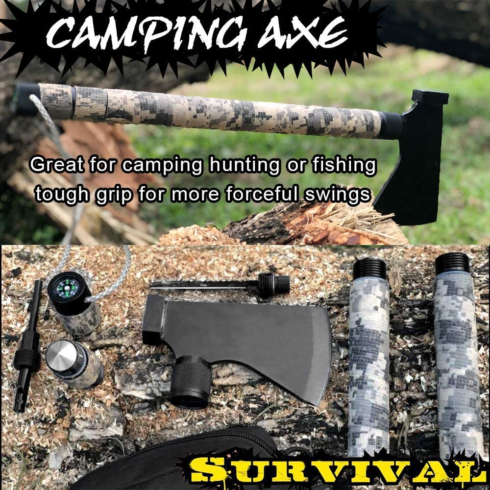Iunio Camping Axt Multitool Beilage Survival Kit Tactical Tomahawk klappbar tragbar Camp Ax Mantelhammer Kompass Feuerpfeife Outdoor Wandern Camping Jagd Notfall Tomahawk