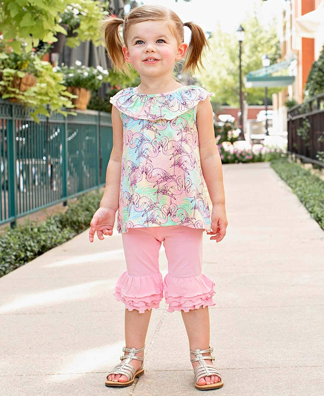 RuffleButts Little Girls Knit Ruffle Tank Top