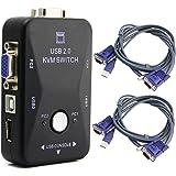 COOLBOTANG 2ポートポートUSB2.0 KVM VGAスイッチボックス切替機 パソコン切替器 日本語取扱説明書付き