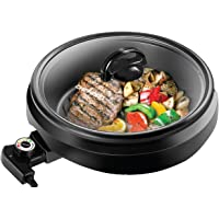 Chefman 3-in-1 Indoor Grill Pot & Skillet, Versatile - Slow Cook Steam, Simmer, Stir Fry and Serve, Non Stick Electric Griddle Pan w/Temperature Control & Tempered Glass Lid, Black