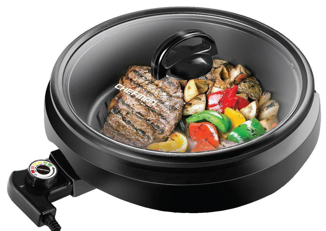 Chefman 3-in-1 Indoor Grill Pot & Skillet, Versatile - Slow Cook Steam, Simmer, Stir Fry and Serve, Non Stick Electric Griddle Pan w/Temperature Control & Tempered Glass Lid, Black by Chefman