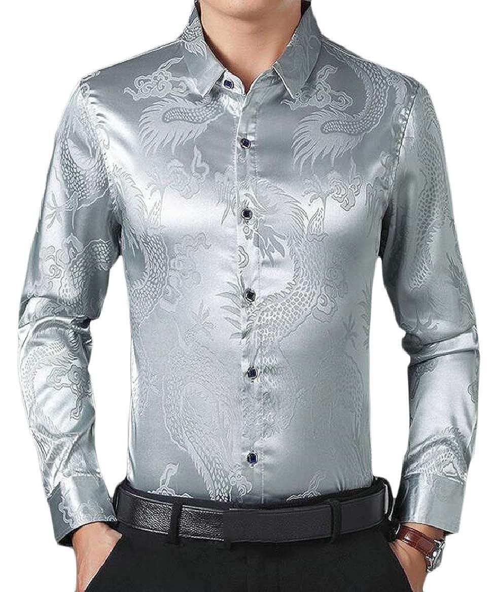 Ptyhk RG Mens Fashion Long Sleeve Satin Luxury Printed Prom Button Down Shirts
