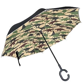 ALAZA camuflaje patrón dinosaurios diseño doble capa resistente al viento Reverse paraguas
