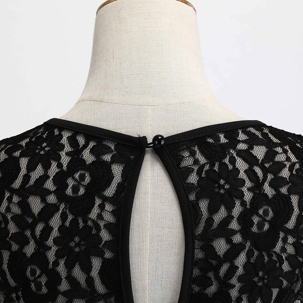 Women Vintage 1950s Retro Sleeveless Lace Splice Printing Party Prom Swing Dress