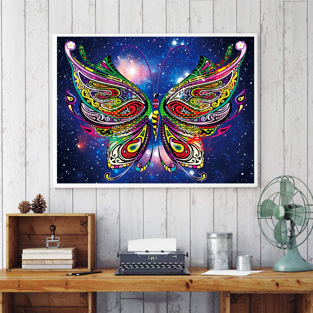 certainPL DIY Special Shaped 5D Diamond Painting by Number Kit, Partial Drill Rhinestone Embroidery Arts Craft for Adults, 12x16 inches - Owl, Butterfly, Peacock (D)