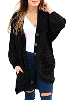 90e91b4d54e483 HOTAPEI Women's Button Down Chenille Knit Oversized Open Front Long Sleeve  Cardigan Sweaters Coat with Pockets