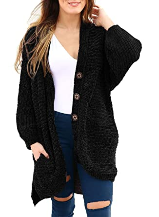 48fc1f2e24ef52 HOTAPEI Women's Sweaters Cardigans Long Casual Chenille Oversized Baggy  Loose Open Front Cable Knit Cardigan Long