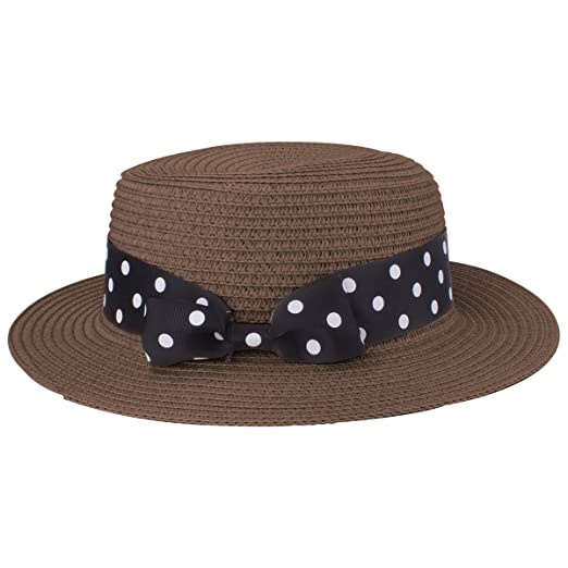 400e4ac8b9dee Andeker Boater Hat Women s Straw Hat Bowknot Round Flat Top Brim Straw Hat  Summer Beach Sun