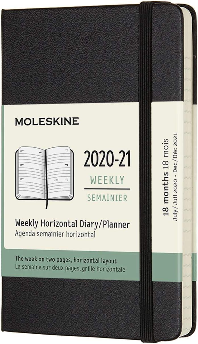 Moleskine - Agenda Horizontal Semanal, Agenda de Bolsillo 2020/2021 de 18 Meses, Agenda Semana Vista con Tapa Dura y Cierre Elástico, Tamaño de Bolsillo 9 x 14 cm, Negro, 208 Páginas