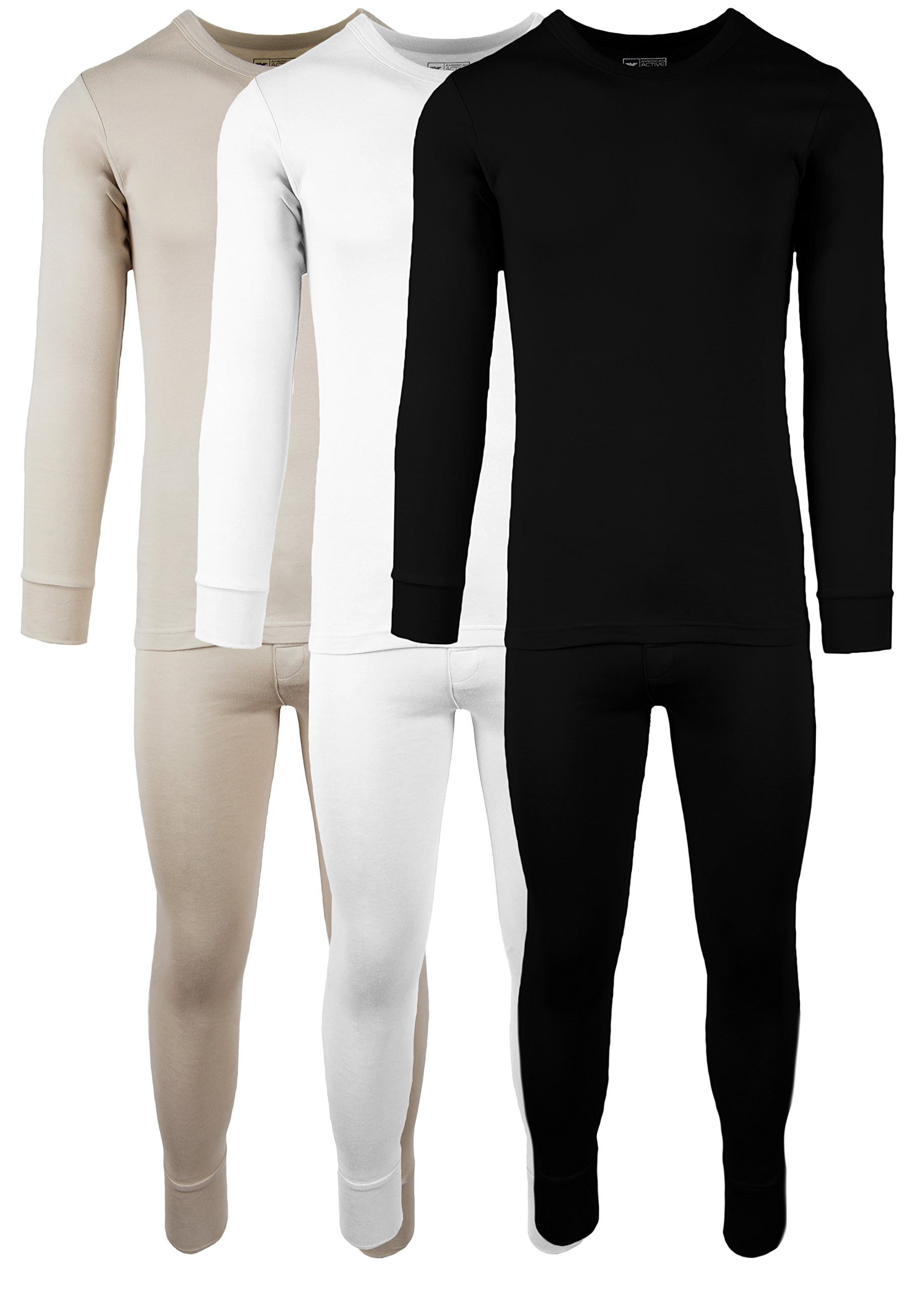 AMERICAN ACTIVE Men's 3 Pack 100% Cotton Fleece Lined Base Layer Thermal Underwear 2 Piece Set (3 Sets- Black/Cream/Sand, Large)