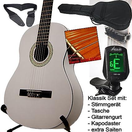 sfq24 - Guitarra clásica escolar, color blanco, con afinador con ...