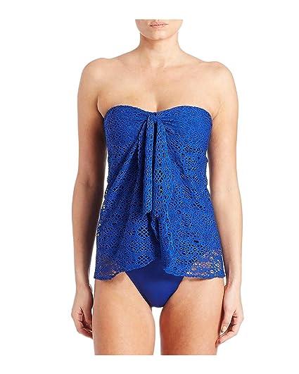 f4007079d88b6 Lauren Ralph Lauren Women's Crocheted Strapless Flyaway One-Piece Swimsuit,  Ocean, 6 6