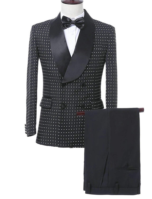 YSMO Men's Slim Shawl Lapel Suits 2-Piece Set Blazer for Men Blazer Jacket & Trousers