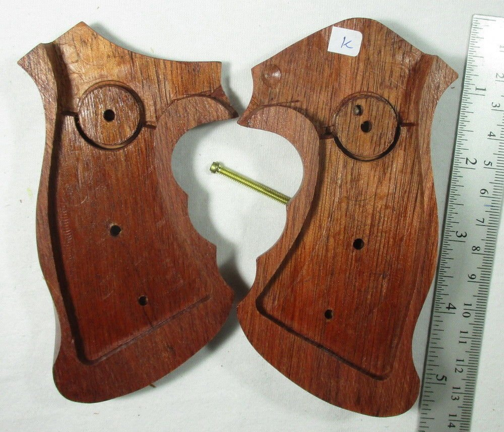 Smooth as Silk WOOD CHECKERED GRIPS FOR S &W REVOLVERS, K, L FRAME, SQUARE ROUND BUTT FINGER GROOVES, NEW by Smooth as Silk (Image #2)
