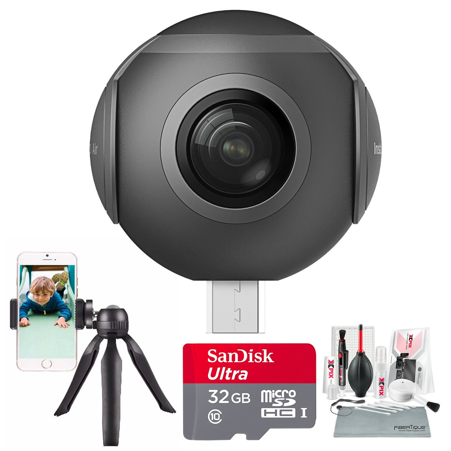 Insta360 Air 360° 3K VR Camera for Android Devices (Type-C) with 32GB + Stable Cell Phone Tripod + Xpix Deluxe Cleaning Kit