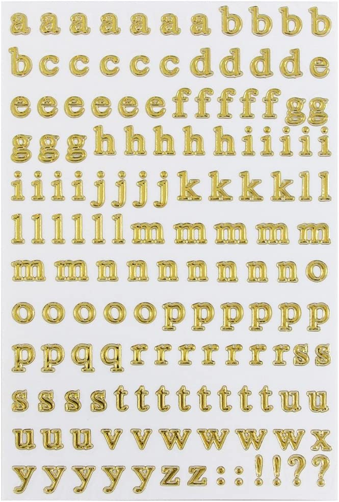 JAM PAPER Self Adhesive Alphabet Letter Stickers Upper /& Lower Case 2 Sheets//Pack Gold