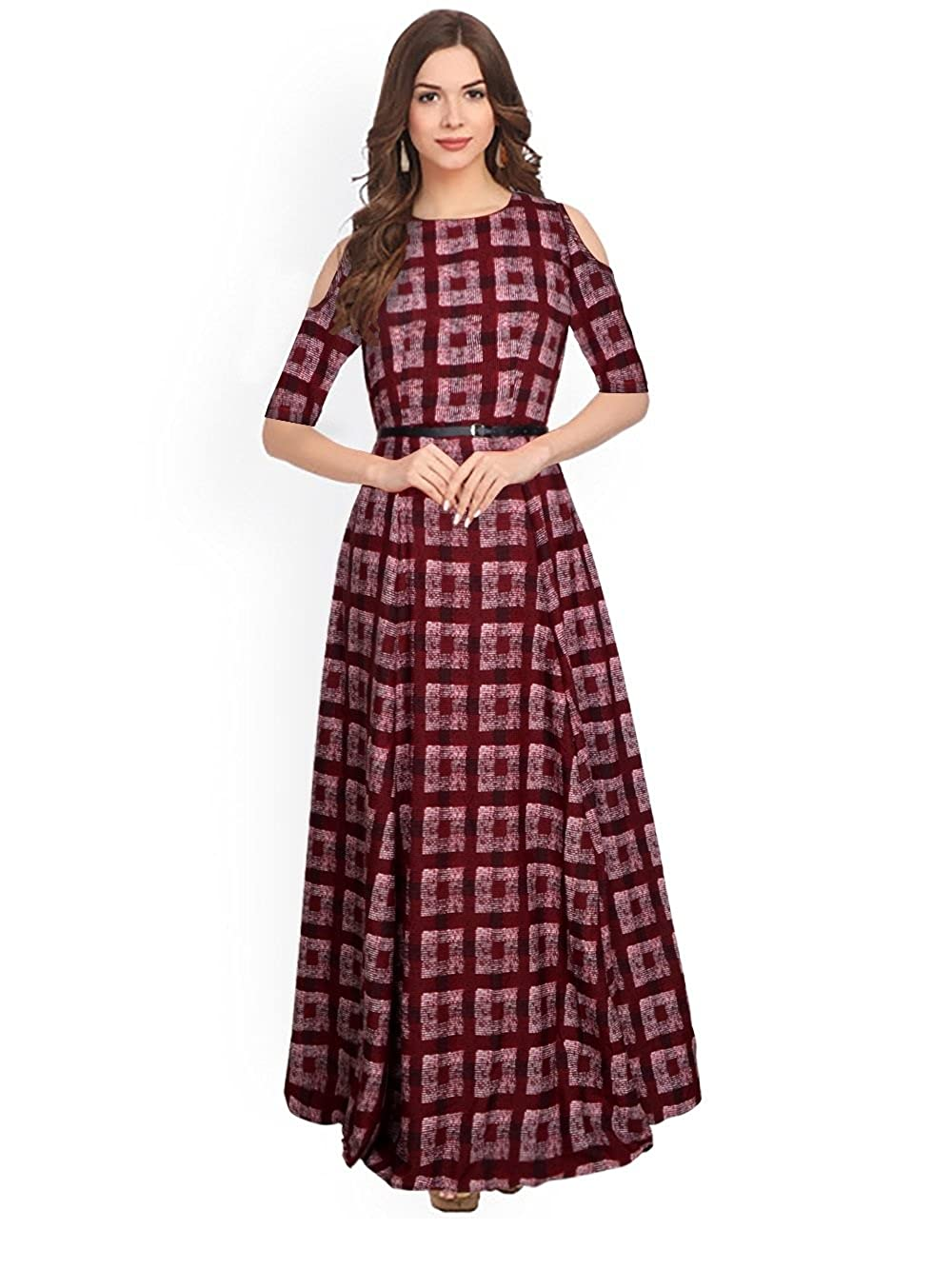0e34180d15aee SJ Trendz Women s Maroon American Crepe Printed Latest 2018 Party Wear Gown  Dress  Amazon.in  Clothing   Accessories