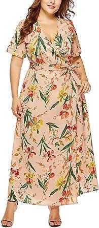 FEOYA - Mujer Vestidos de Playa de Talla Grande Cuello en V para ...