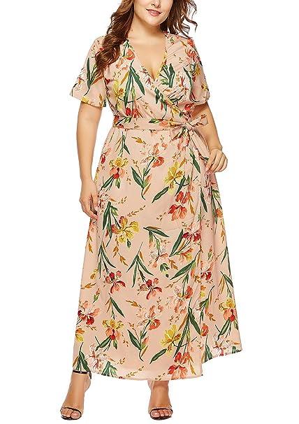 FEOYA - Mujer Vestidos de Playa de Talla Grande Cuello en V ...