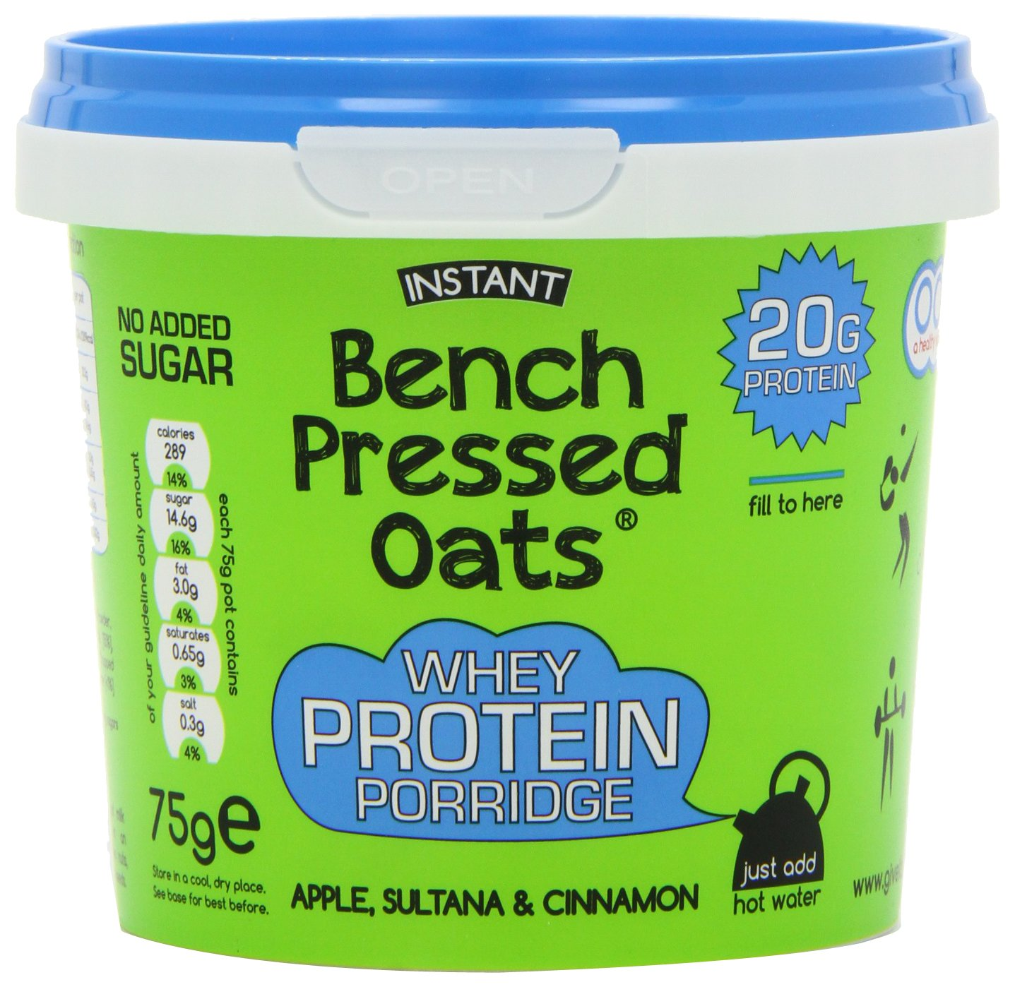 Bench Pressed Oats Apple, Sultana and Cinnamon Instant Whey Protein Porridge (Pack of 8) GroceryCentre