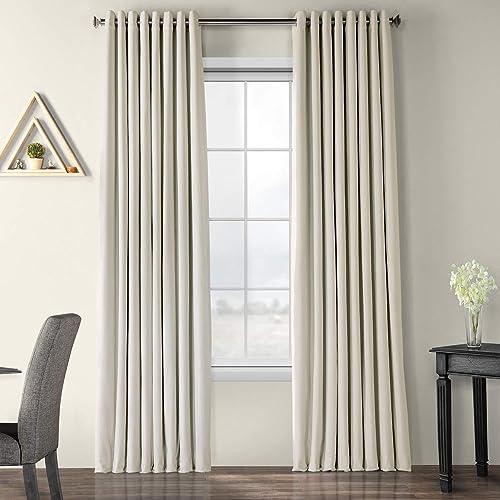 HPD Half Price Drapes VPCH-VET1219-120-GR Signature Extra Wide Grommet Blackout Velvet Curtain 1 Panel , 100 X 120, Off White