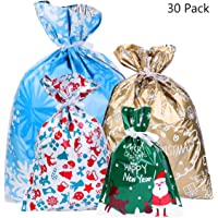 30PCS Christmas Gift Bags Amosfun Christmas Drawstring Goody Bags Drawstring Gift Wrapping Christmas Goody Bags for The Holiday Assorted Styles