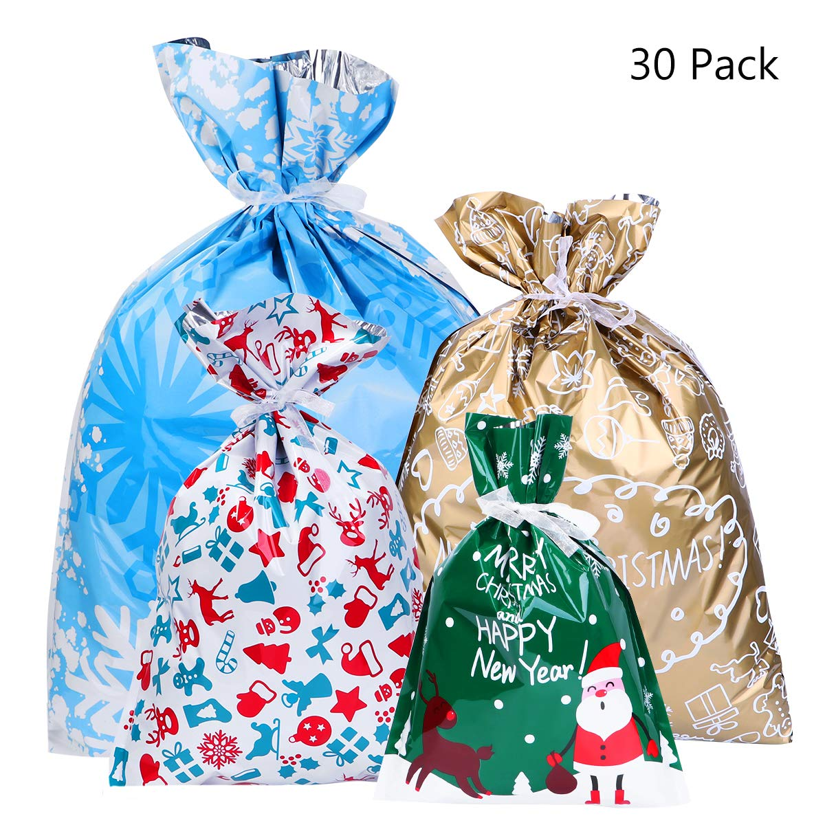 Christmas Gift Bags Australia.Bestoyard 30pcs Christmas Gift Bag Christmas Goody Bags Gift Wrapping Assorted Styles With 30pcs Ribbon Ties