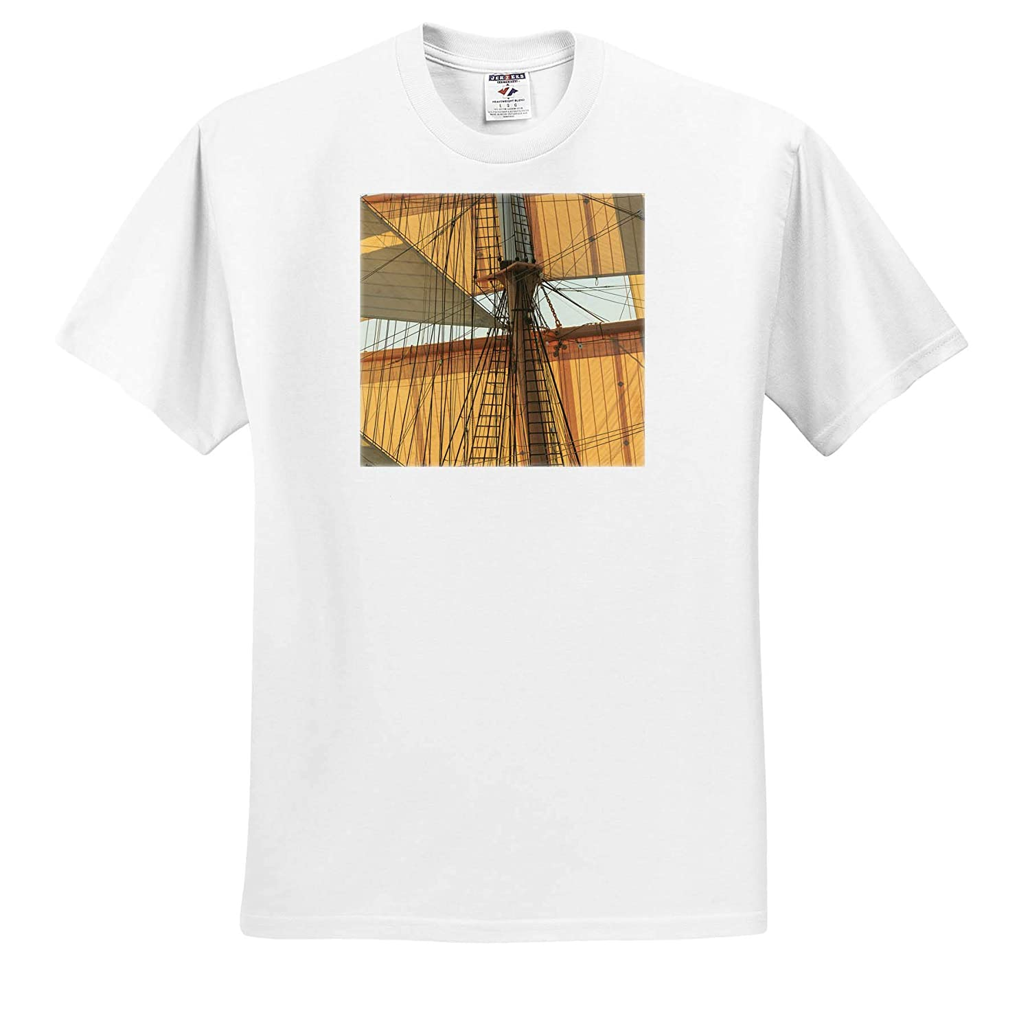 Sails and Rigging View of a 90 Foot Sailing Yacht 3dRose Danita Delimont ts/_314723 Sailboats Adult T-Shirt XL